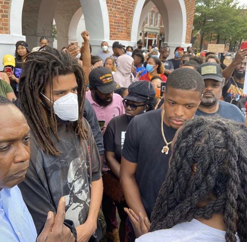 J Cole joins protesters in his hometown after George Floyd death